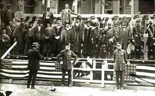 Garvey and Delegation Watching U.N.I.A. Parade
